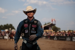 Jacobs Crawley after riding  CS A-1 Arriving Kamloops at Hardgrass Bronc Match 2018