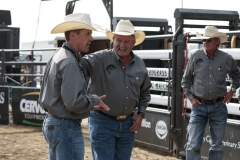 Nate talking with Rob at the Hardgrass Bronc Match 2018