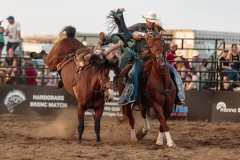 Short Round  Tyler Kraft helping Issac Diaz off BS 711 Rubels at Hardgrass Bronc Match 2018